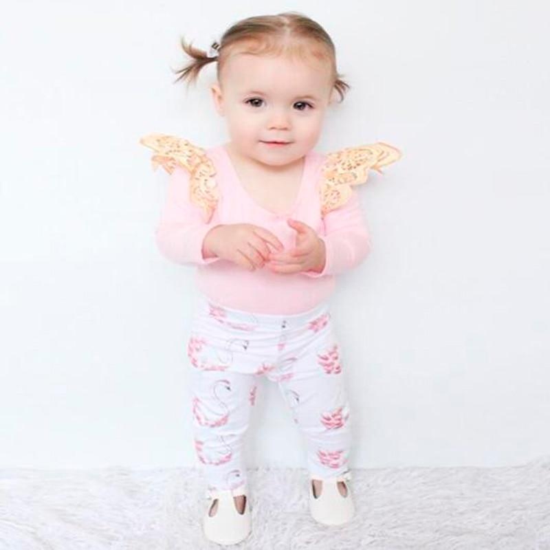 Baby girl clothes Long sleeve Pink T-Shirt + Leggings pants 2pcs/set Little Swan pants Infant girls clothing baby clothing sets pink swan 100
