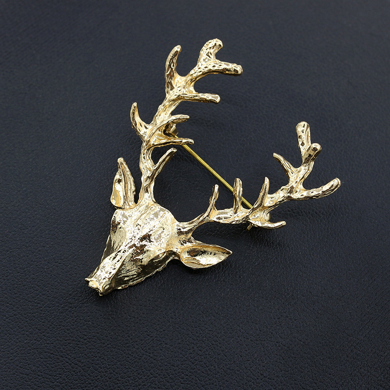 10 pieces/lot Gold Plated Elk Deer Head Brooch Pins Women Men Brooches Hijab Pin Lapel Jewelry Accessories Badges Christmas Gift