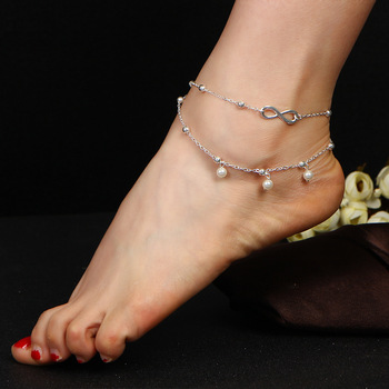 Anklets Simulated Pearl Infinity Charm Beads Ankle Bracelets For Women Leg Chain Barefoot Sandals Foot Jewelry Accessories