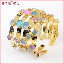 BOROSA Mix Colors tiny druzy bangle colorful 7 stones Crystal  druzy bracelet bangle fashion jewelry gems for women G1098