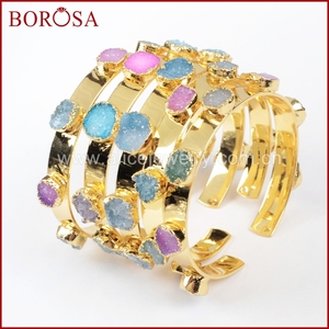 Image 1 - BOROSA Mix Colors tiny druzy bangle colorful 7 stones Crystal  druzy bracelet bangle fashion jewelry gems for women G1098