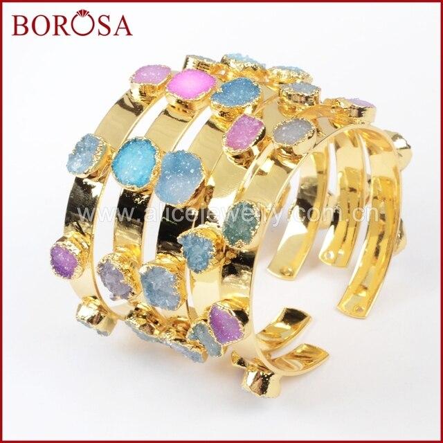 BOROSA Mix Farben tiny druzy armreif bunte 7 steine Kristall druzy armband armreif mode schmuck edelsteine für frauen G1098