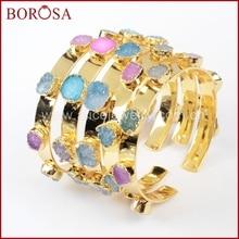 BOROSA 믹스 색상 작은 druzy 팔찌 다채로운 7 돌 크리스탈 druzy 팔찌 팔찌 여성을위한 패션 주얼리 보석 G1098