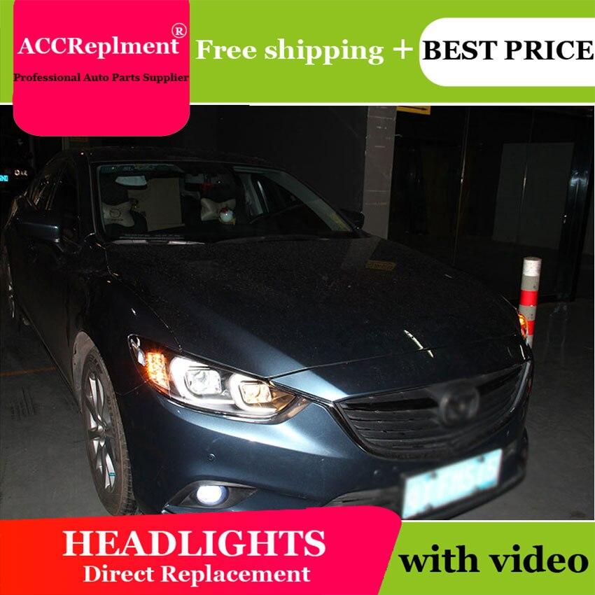 Phares pour Mazda 6 Atenza 2014-15 barre de lumière LED pour 6 phares Q5 bi xénon len HID kit projecteur LED Blub