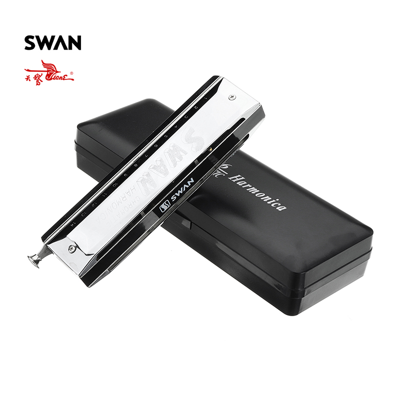 Swan SW1456 14 Holes 56 Tones Chromatic Harmonica Changeable Tones Woodwind Instruments Musical Instrument Harp In Plastic Box