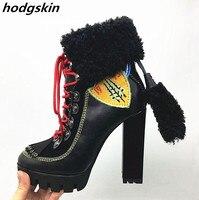 2019 черные зимние женские сапоги из натуральной кожи на меху, оранжевые мотоциклетные сапоги на не сужающемся книзу массивном каблуке с выши