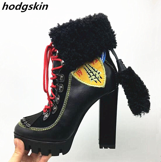 2019 Black Genuine Leather Fur Winter Women Boots Chunky Heels Orange Embroider Motorcycle boots Lace Up Tassel Shoes Woman2019 Black Genuine Leather Fur Winter Women Boots Chunky Heels Orange Embroider Motorcycle boots Lace Up Tassel Shoes Woman