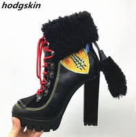 2019 Black Genuine Leather Fur Winter Women Boots Chunky Heels Orange Embroider Motorcycle boots Lace Up Tassel Shoes Woman
