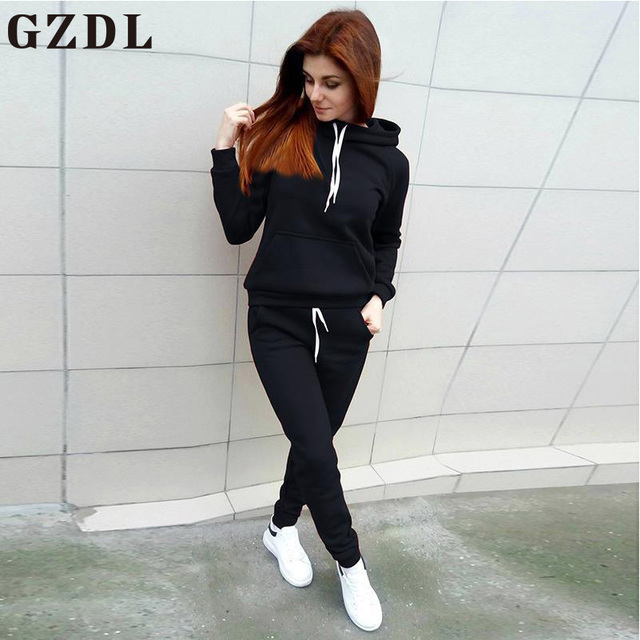 GZDL Autumn Winter Women Casual Sweatsuit Style Hooded Lace Up Long Sleeve Slim Pullovers Tops Fashion Pockets Long Pants CL4567
