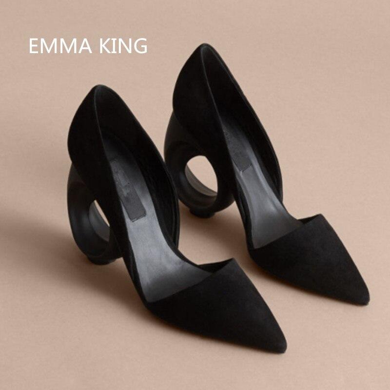 Peu Hauts De Automne Mujer Chaussures Pointu Femmes Mode Pompes Profonde Dames Solid Bout Solide Talons En Daim Zapatos Partie Forme Printemps qY1nw7x7