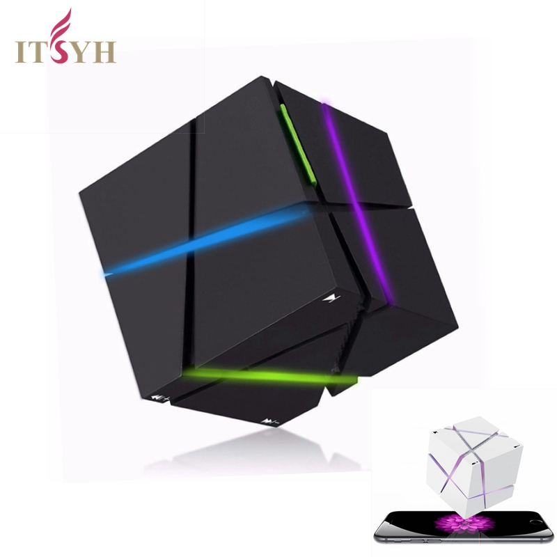 ITSYH Wireless Bluetooth Speaker Rubik's Cube Shine Powerful Sound with Build-in Microphone Work for Phone MP3 Player LF-J-006