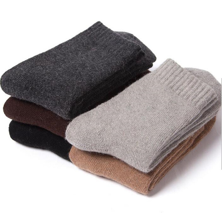 2 Pieces = 1 Pairs Rabbit Wool Socks Winter Hot Warming Cold-proof Pure Color Extra-thick Towel Men Socks Men