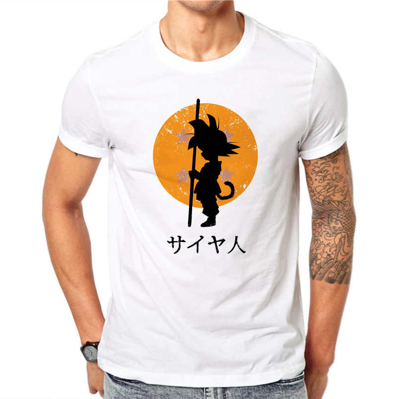 100% Cotton Men Dragon Balls Character Design T Shirt Novelty Goku Tops Custom Printed Short Sleeve O-neck Tees Plus Size
