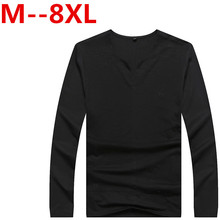 plus size 9XL 8XL 6XL 5XL 4XL T shirt Tee Shirt Homme 2016 Double V Neck Henley Shirt Long Sleeve Tee Shirt Men Slim Fit T-shirt