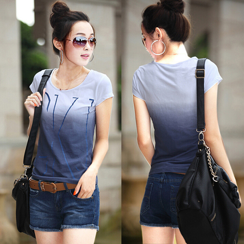women cotton t shirt 2017 women fashion short sleeve gradient ...