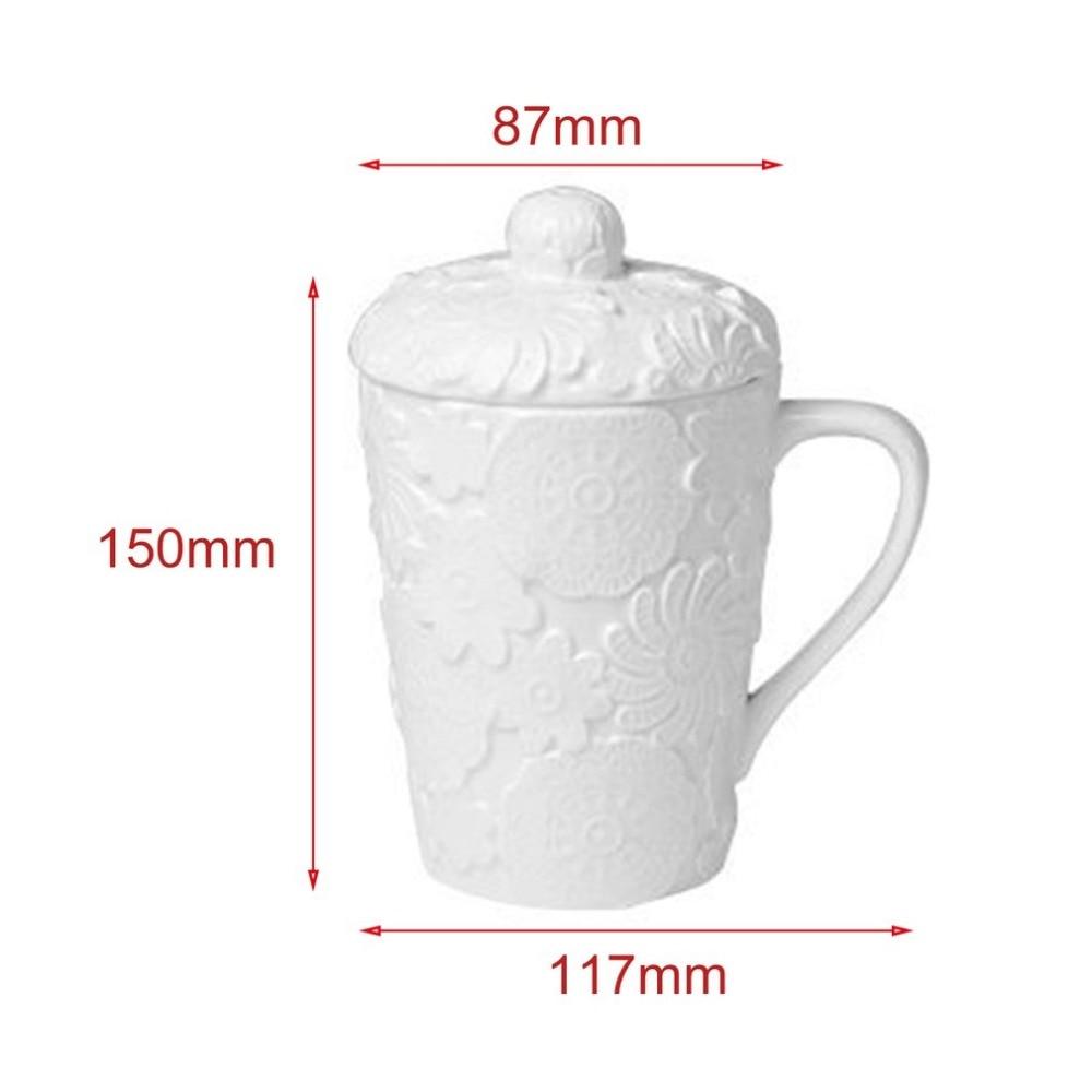 White Elegant Sculpture Ceramic Mug Dimensional Embossed Coffee Mug Water Cup Handgrip Lid Elk Spoon Birthday Gifts
