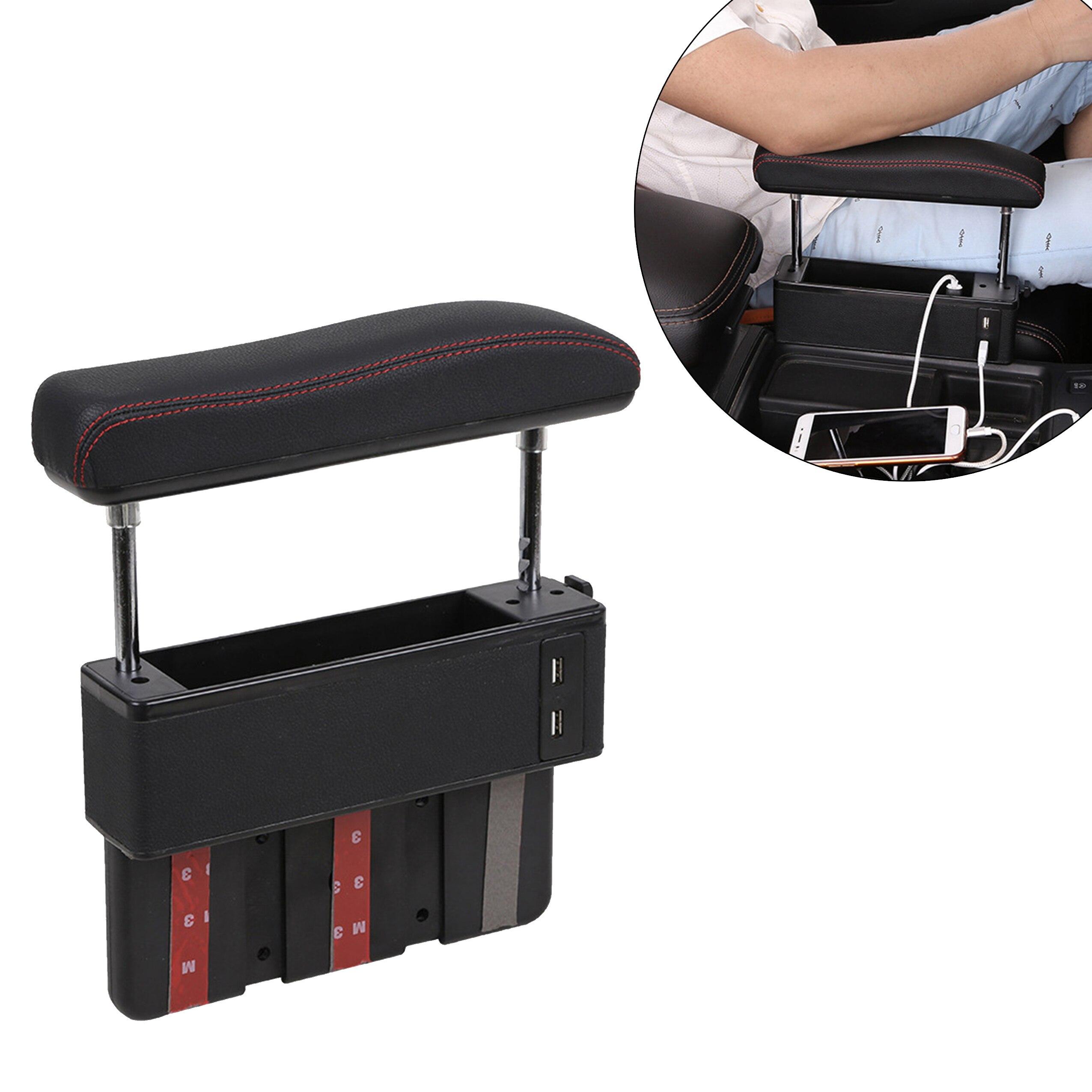 Boîte de rangement de fente de siège de véhicule de voiture en cuir d'unité centrale avec le porte-carte de clé de téléphone d'organisateur de poche d'accoudoir 4USB