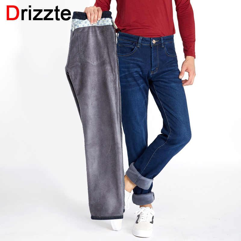 e94e400a Drizzte Mens Winter Fleece Jeans Flannel Lined Stretch Denim Jeans Slim Fit Trousers  Pants 33 34