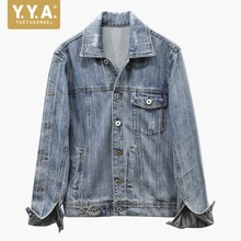 European Style Female Loose Fit Jean Jacket Fashion Striped Rhinestone Women Denim Streetwear Casual Outwear
