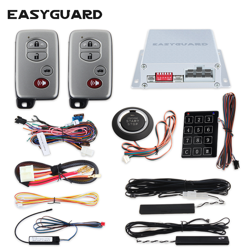 EASYGUARD sistema di allarme dell'automobile di pke push pulsante di arresto di inizio chiusura centralizzata con telecomando di controllo a distanza di avviamento keyless serratura della porta