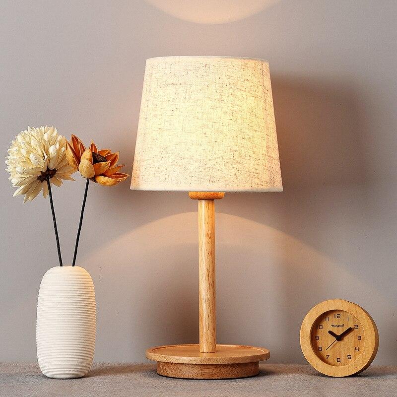 TUDA Log Warm Bedroom Table Lamps Decoration Lamp Bedside Lamp Japanese  Style Real Wood Desk Lamp