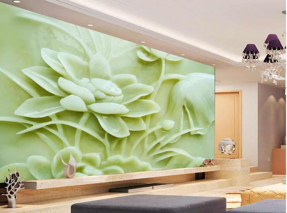 วอลล์เปเปอร์ที่กำหนดเองวอลล์เปเปอร์ดอกไม้ 3d หยก lotus บรรเทาภาพจิตรกรรมฝาผนัง 3d วอลล์เปเปอร์ 3d wall papers สำหรับฉากหลังทีวี
