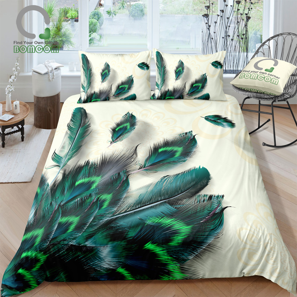 BOMCOM 3D Digital Printing Peacock Pattern Bedding Set Water Color Peacoke Feather Print Duvet Cover Set 100% Microfiber(China)