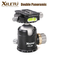 XILETU PA44 Double Panoramic Tripod Ball Head with Quick Release Plate 3/8'' Interface & 1/4'' Screw for Camera Tripod