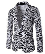 NQ Men's blazer One Button Leopard Fitted Coat Blazers