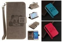 Panda 3d luxo virar carteira de couro case para huawei y6 ii y5 ii y3 ii honor 5a 5c case telefone voltar tampa do cartão slots
