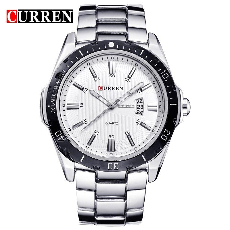 CURREN Men's Watches Top Brand Luxury Fashion Business Quartz Wristwatch Full Steel Band Date Waterproof Relogio Masculino
