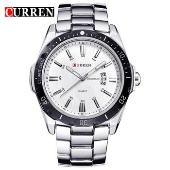 CURREN Men's Watches Top Brand Luxury Fashion Business Quartz Wristwatch Full Steel Band Date Waterproof relogio masculino - discount item  44% OFF Men's Watches