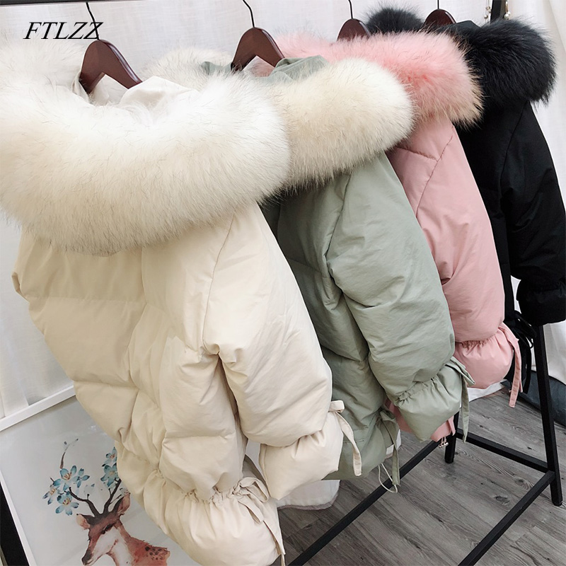FTLZZ Winter New White Duck Down Parkas Hooded Large Fur Collar Medium Long Loose Warm Female Outerwear