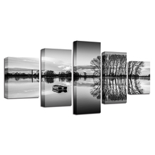 Canvas Painting Art Modular 5 Pieces Black And White Pictures Ship Lake Tree Landscape Poster HD Printing Decor Living Room Wall