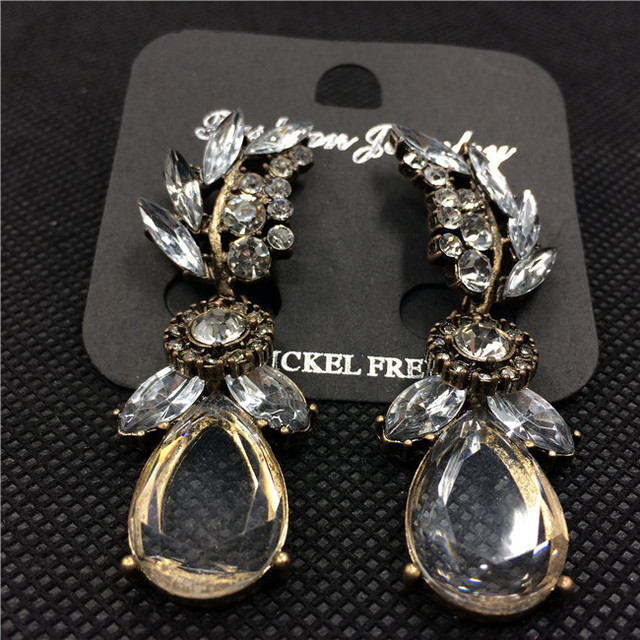 Vintage Earrings Crystal Leaf Flower