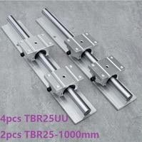 2pcs TBR25 L 1000mm linear rail guide support + 4pcs TBR25UU linear bearing blocks for CNC linear guide