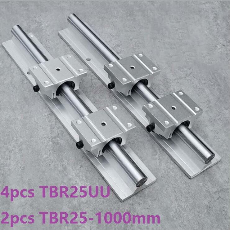 2pcs TBR25 -L 1000mm linear rail guide support + 4pcs TBR25UU linear bearing blocks for CNC linear guide2pcs TBR25 -L 1000mm linear rail guide support + 4pcs TBR25UU linear bearing blocks for CNC linear guide
