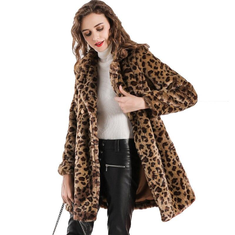 Estilo Light Abrigo Piel 2018 Para Mujer Leopardo Estampado Chaqueta w7FAHBqxF