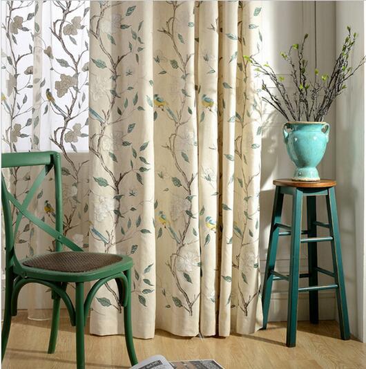 moderna vendedora caliente cortinas tela producto terminado bordado leaves and birds cortinas de algodn para sala
