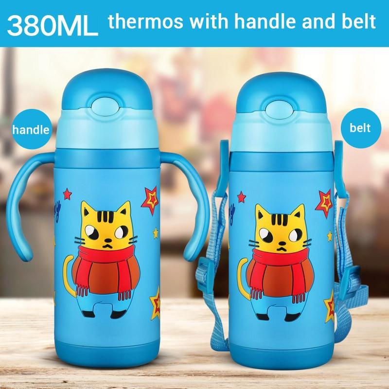 3D karikatura Thermos Cup Děti Thermo Mug měkký silikon Straw Insulated Drink Vodní láhev kart Vánoční dárek pásek rukojeť Tumbler