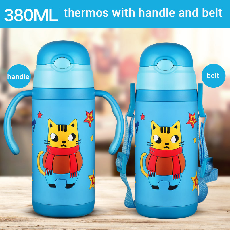 3D cartoon Thermos Cup Kids Thermo Mug soft silicone Straw Insulated Drink Water Bottle kart Vacuum Flask belt handle Tumbler ...