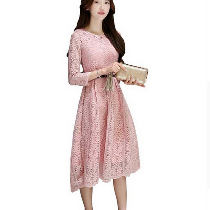 c34c04542d9 New Fashion Cute Women Dress Summer Style 2017 Elegant Party Dresses Solid  Color S~2XL Sleeve Lace Dress O-Neck A Lined Vestidos in Pakistan