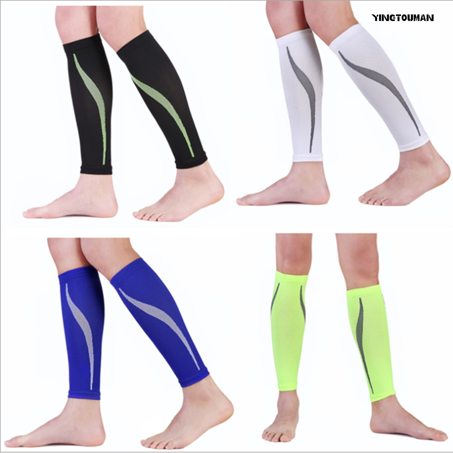 YINGTOUMAN 2set/lot Protective Calf Sleeves Cycling Fitness Professional Sports Safety Soccer Protector Knee Leg Guard