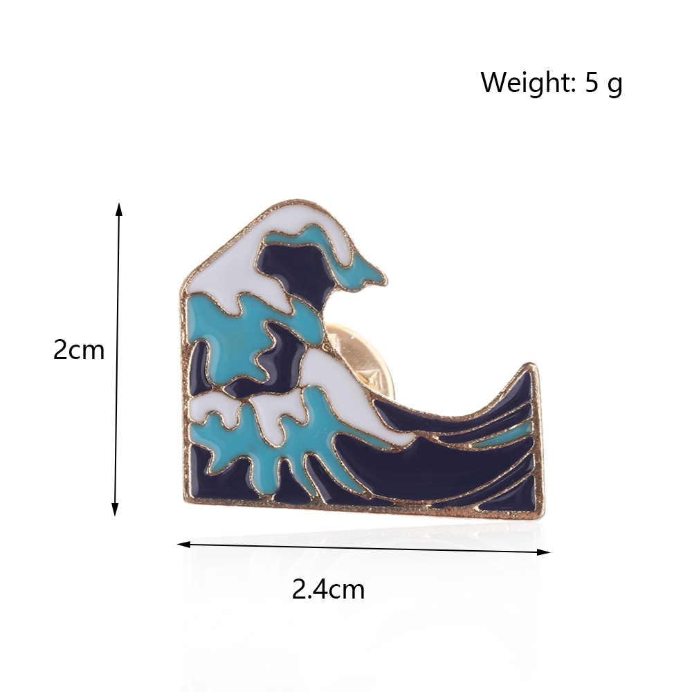 1Pc Biru Gelombang Gunung Es Bros Enamel Pin Gesper Kartun Logam Bros untuk Mantel Mantel Tas Pin Gunung Salju perhiasan Hadiah