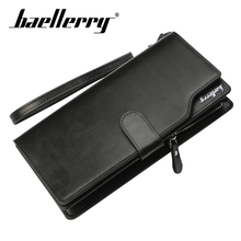 Baellerry Men Solid Black Long Wallet Zipper Hasp Hand Rope Porta Wallet Coin Pocket Card Holder Photo Holder Wallet Men Handbag baellerry men solid black long wallet pu leather zipper n rope wallet coin pocket card holder photo holder business wallet men