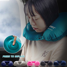 Summer Ice Silk Inflatable Portable Head Rest Neck Pillows Travel Small U Shape Air In Flight Cushion Good Sleeping Quality 1pc(China)