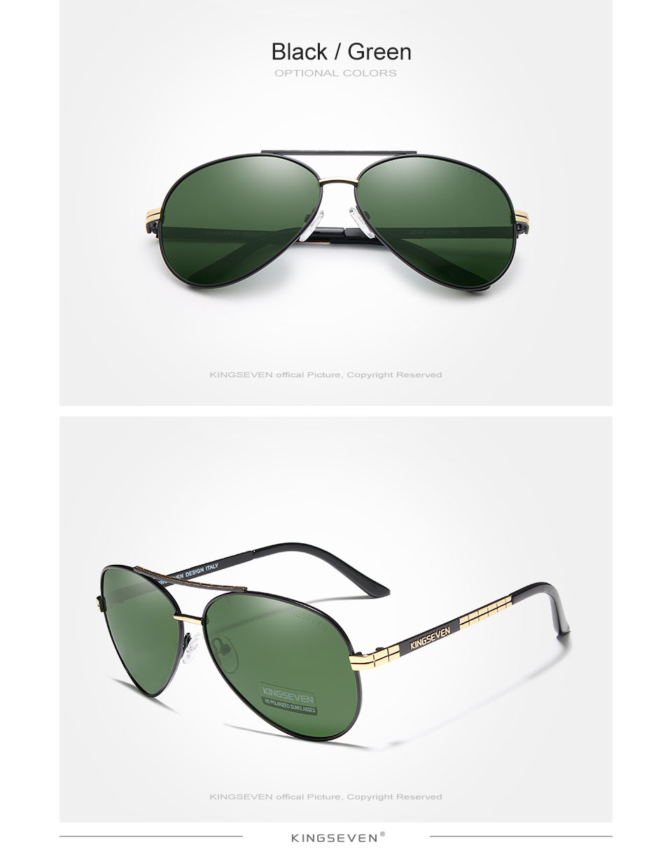 KINGSEVEN Design Men's Glasses Pilot HD Polarized Sunglasses For Men/Women Driving Sun Glasses With Emboss Logo Oculos De Sol
