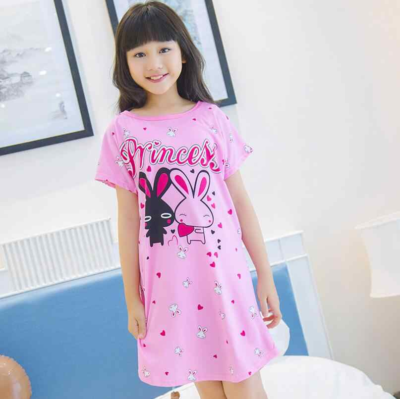 9d2717185e3cc 2018 New Cotton Nightdress Little Teens Girls Pajamas Dresses Children  Cartoon Summer Nightgown Home Clothes Kids Sleepwear NS26