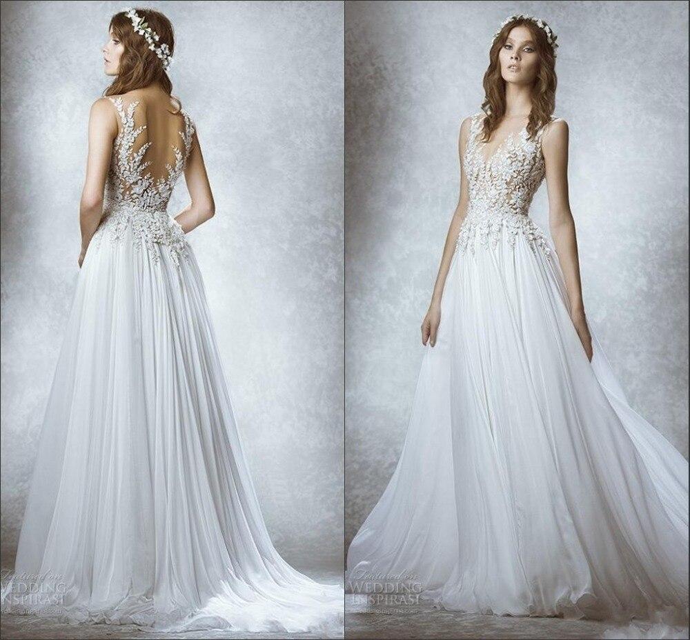 See Through Corset Vintage Wedding Dresses Chiffon White 2015 ...