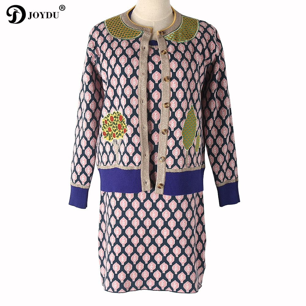 JOYDU Knit Sweater Dress Two Piece Set Women 2017 Winter Office Lady Designer Twinset Pink Leaves Tops Coat + Dress Suit Outfits
